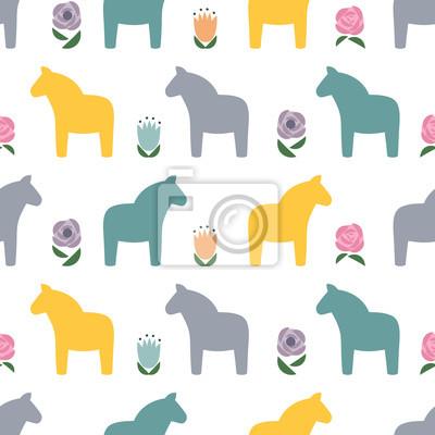 Fototapete Skandinavisches Muster mit traditionellen Pferden und Blumen. Nette Tier Illustration Karte. Dekorative nahtlose Hintergrund. Design für Textil, Tapeten, Stoff, Dekor.