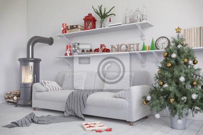 Fototapete Skandinavisches, Nordisches Wohnzimmer Mit Einem Sofa, Kamin Und  Weihnachtlicher Deko.