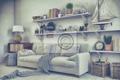 Fototapete: Skandinavisches, nordisches wohnzimmer mit einem sofa, regalen