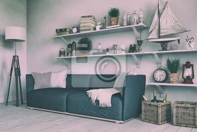 Skandinavisches Nordisches Wohnzimmer Mit Einem Sofa Regalen