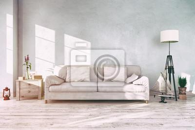 Skandinavisches Nordisches Wohnzimmer Sofa Couch Textfreiraum
