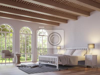 Skandinavisches Schlafzimmer 3d Das Bild Ubertragt Die Raume