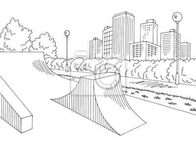 Fototapete Skate park graphic black white city landscape sketch illustration vector