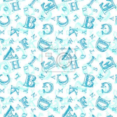 Sketch Alphabet nahtlose Muster