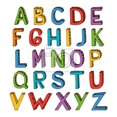 Sketch Alphabet Schrift farbig