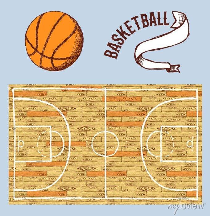 Fototapete Sketch Basketball-Set mit Gericht und Ball