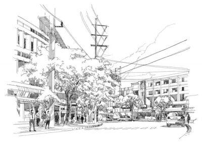 Fototapete sketch drawing of city street.Illustration.