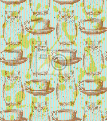 Sketch Eule und Tasse, Vektor Jahrgang nahtlose Muster