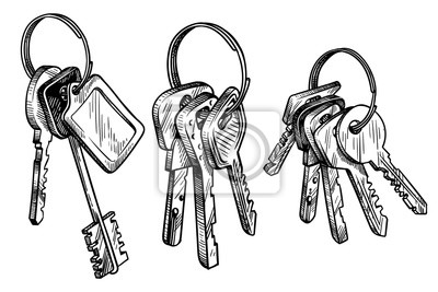 Fototapete sketch hand drawn bunch of keys on white background