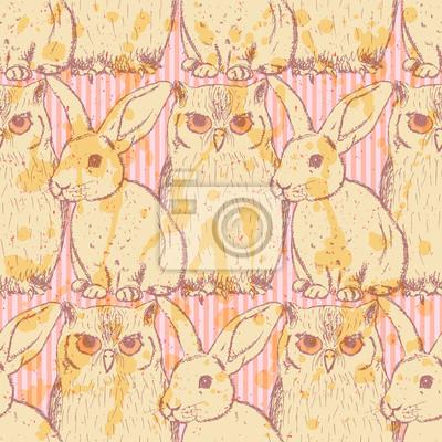 Sketch Kaninchen und Eule, Vektor Jahrgang nahtlose Muster