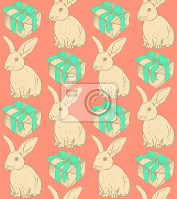 Sketch Kaninchen und Gegenwart, Vektor Jahrgang nahtlose Muster