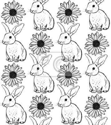 Sketch Kaninchen und Kamille, Vektor Jahrgang nahtlose Muster