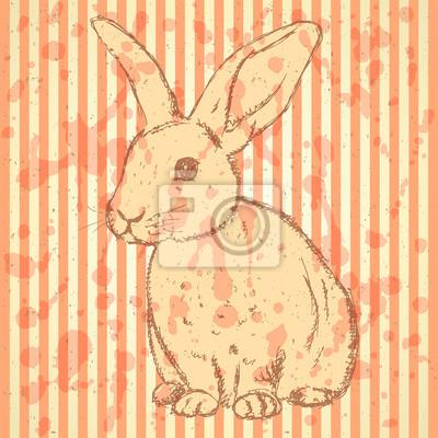 Sketch Kaninchen, Vektor Jahrgang Hintergrund