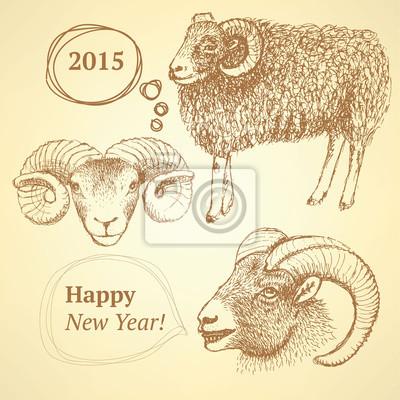 Sketch Neujahr ram im Vintage-Stil