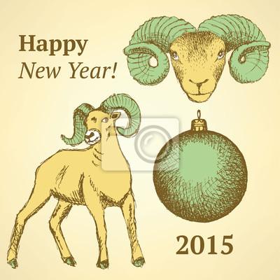Sketch Neujahr RAM und Ball im Vintage-Stil