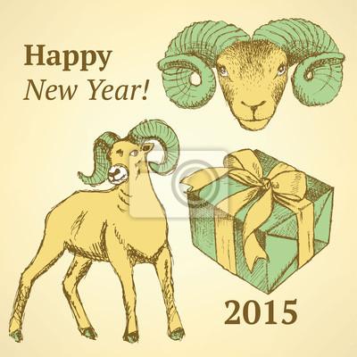 Sketch Neujahr ram und Gegenwart im Vintage-Stil