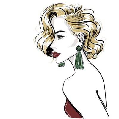 Fototapete sketch of classic blond woman with hair waves