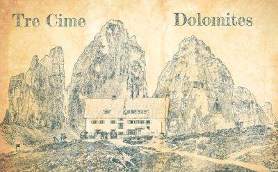 Fototapete Sketch of Dreizinnen hut in Tre Cime, Dolomites