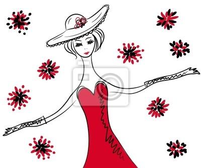 Sketch of retro Frau im roten Kleid und Hut