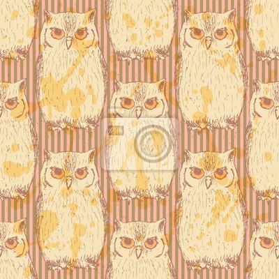 Sketch owl, vector vintage seamless pattern