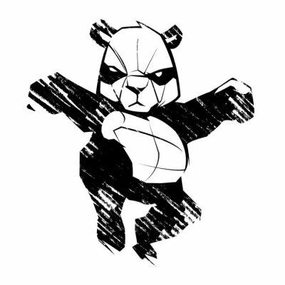 Fototapete Sketch panda Kampfkünste