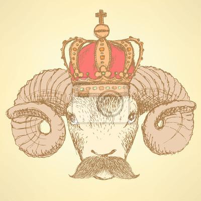 Sketch ram in der Krone mit Schnurrbart
