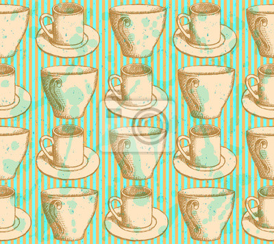 Sketch vector cup, vintage seamless pattern
