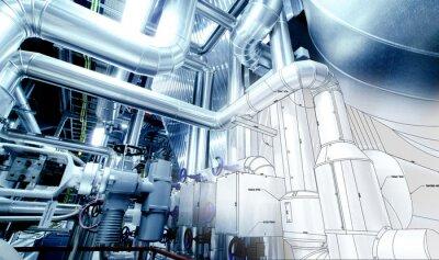 Fototapete Sketch von Rohrleitungen Design mit Industrieanlagen photo gemischt