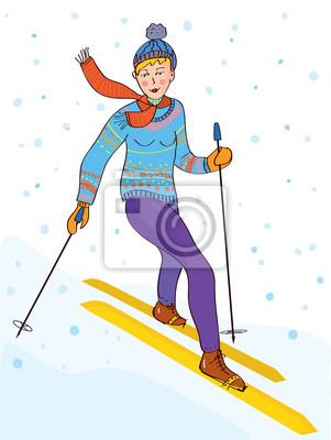 Ski Mädchen, lustig, Retro-Design