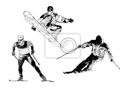 Skifahren Trio