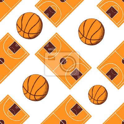 Skizze Basketball nahtlose Muster