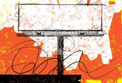 Skizze Billboard Design .. Amerikanische Wahlknöpfe über Streifen und ein beunruhigter Hintergrund.