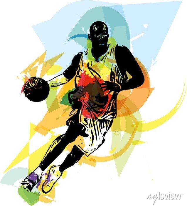 Fototapete Skizze der Basketball-Spieler