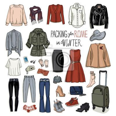 Skizze der kleidung und zubehör für design. weibliche mode ...