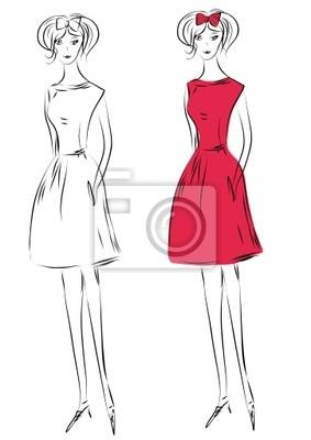 Skizze der Mode Mädchen im roten Kleid