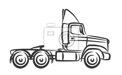 Skizze des großen lastwagens. fototapete • fototapeten LKW ...