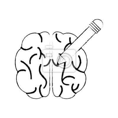 Fototapete Skizze Gehirn Bleistift Innovation Vektor Illustration Eps 10