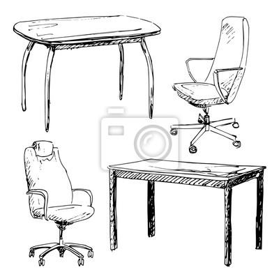 Skizze gesetzt isolierte möbel. verschiedene stühle und tisch ...