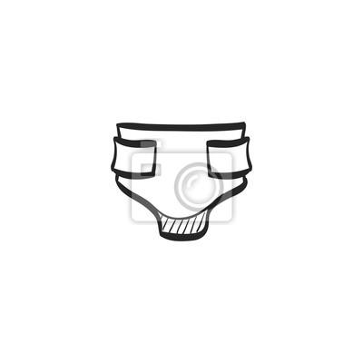 Skizze icon - windel fototapete • fototapeten Unterwäsche, pissen ...