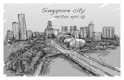Skizze stadt scape von singapur skyline, freie hand ...