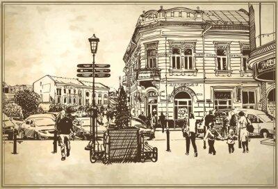 Fototapete Skizze Vektor-Illustration von Uzhgorod Stadtbild