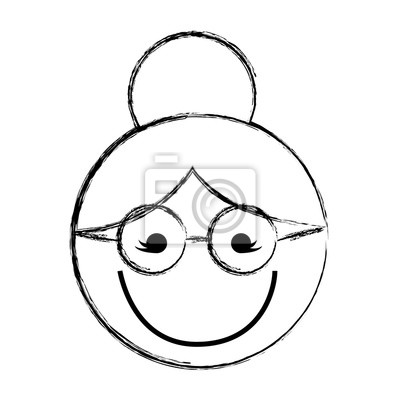 Skizze Zeichnen Sie Grossmuttergesichtskarikatur Vektorgraphikentwurf