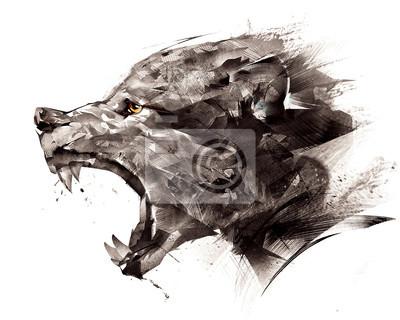 Fototapete Skizzieren Wolf Wolf seitlich auf einem weißen Hintergrund