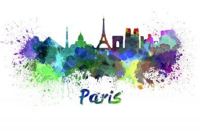 Fototapete Skyline von Paris in Aquarell