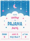 Fototapete Sleepover Pyjama Kinder Party Einladung Vorlage