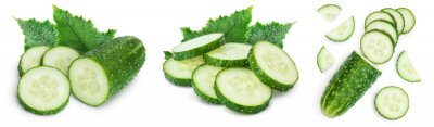 Fototapete Sliced cucumber isolated on white background. Set or collection