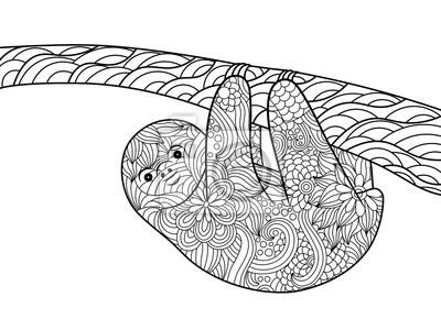 Sloth Malbuch für Erwachsene Vektor