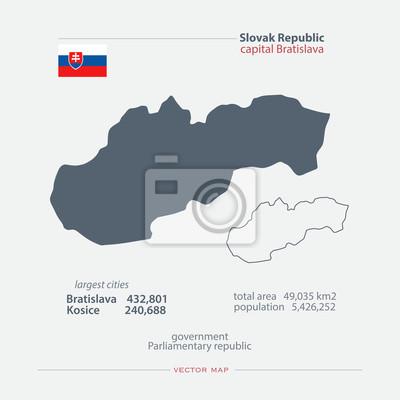 Slowakei isoliert karten und offizielle flagge-symbol. vektor ...