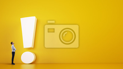 Fototapete Small business man looks at a big white exclamation mark on a yellow background. 3D Rendering