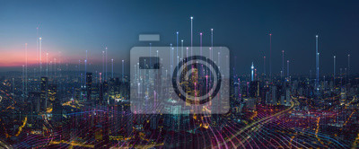 Fototapete Smart city and abstract dot point connect with gradient line and aesthetic Intricate wave line design , big data connection technology concept .